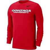 Nike Men's Gonzaga Bulldogs Red Wordmark Long Sleeve T-Shirt