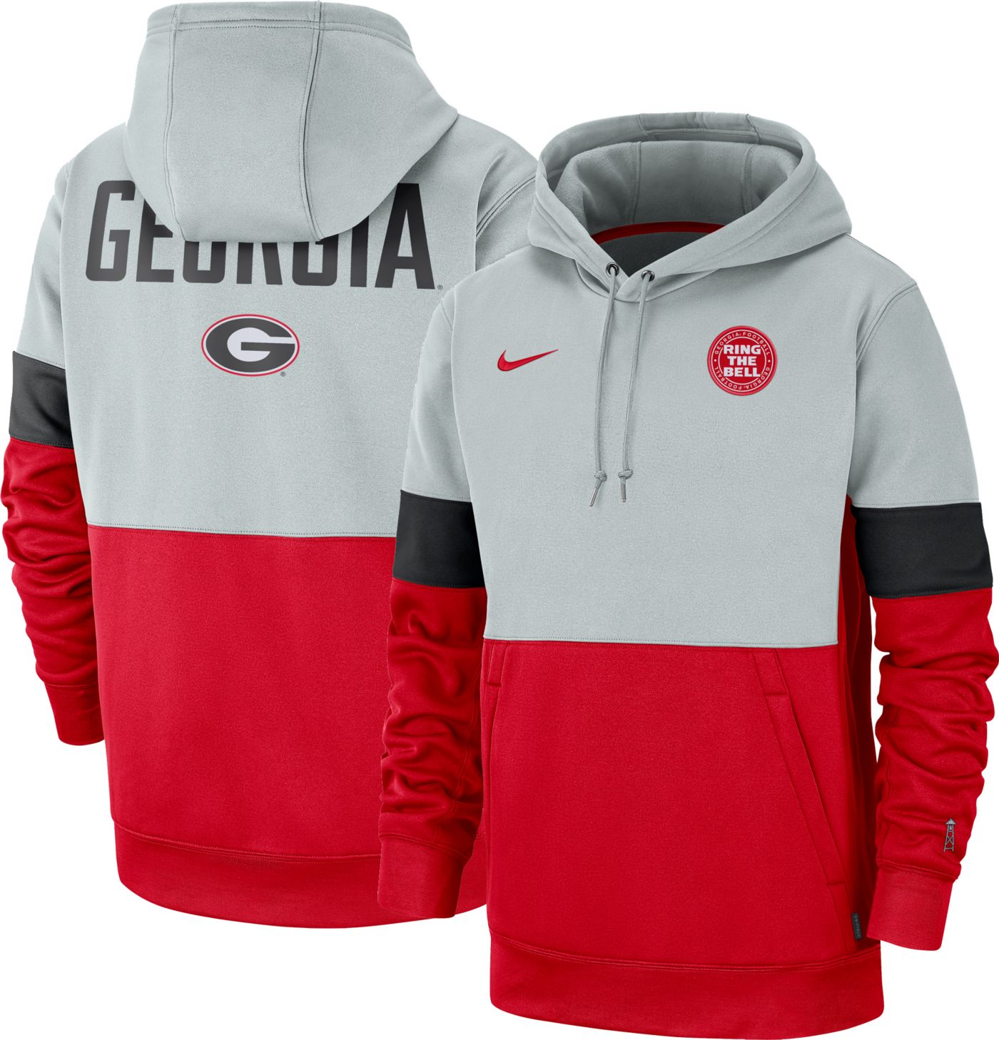 Nike Men's Georgia Bulldogs Grey/Red Rivalry Therma Football Sideline Pullover Hoodie