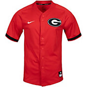 Nike Men's Georgia Bulldogs Red Full Button Replica Baseball Jersey