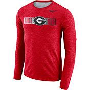 Nike Men's Georgia Bulldogs Red Dri-FIT Cotton Slub Logo Long Sleeve T-Shirt