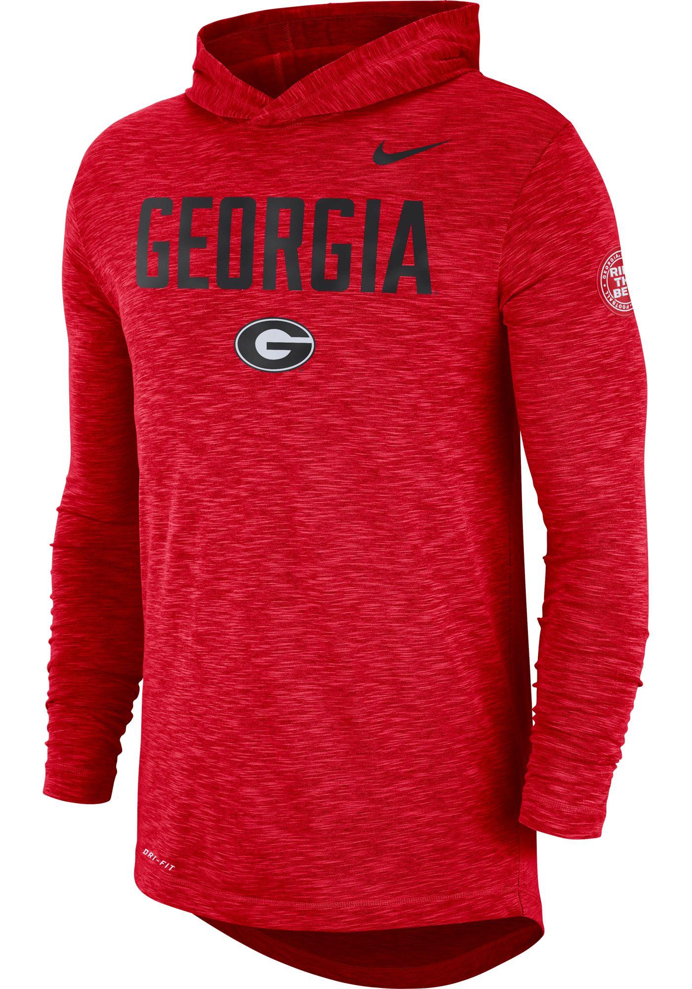 Nike Men's Georgia Bulldogs Red Dri-FIT Rivalry Football Sideline Hooded T-Shirt