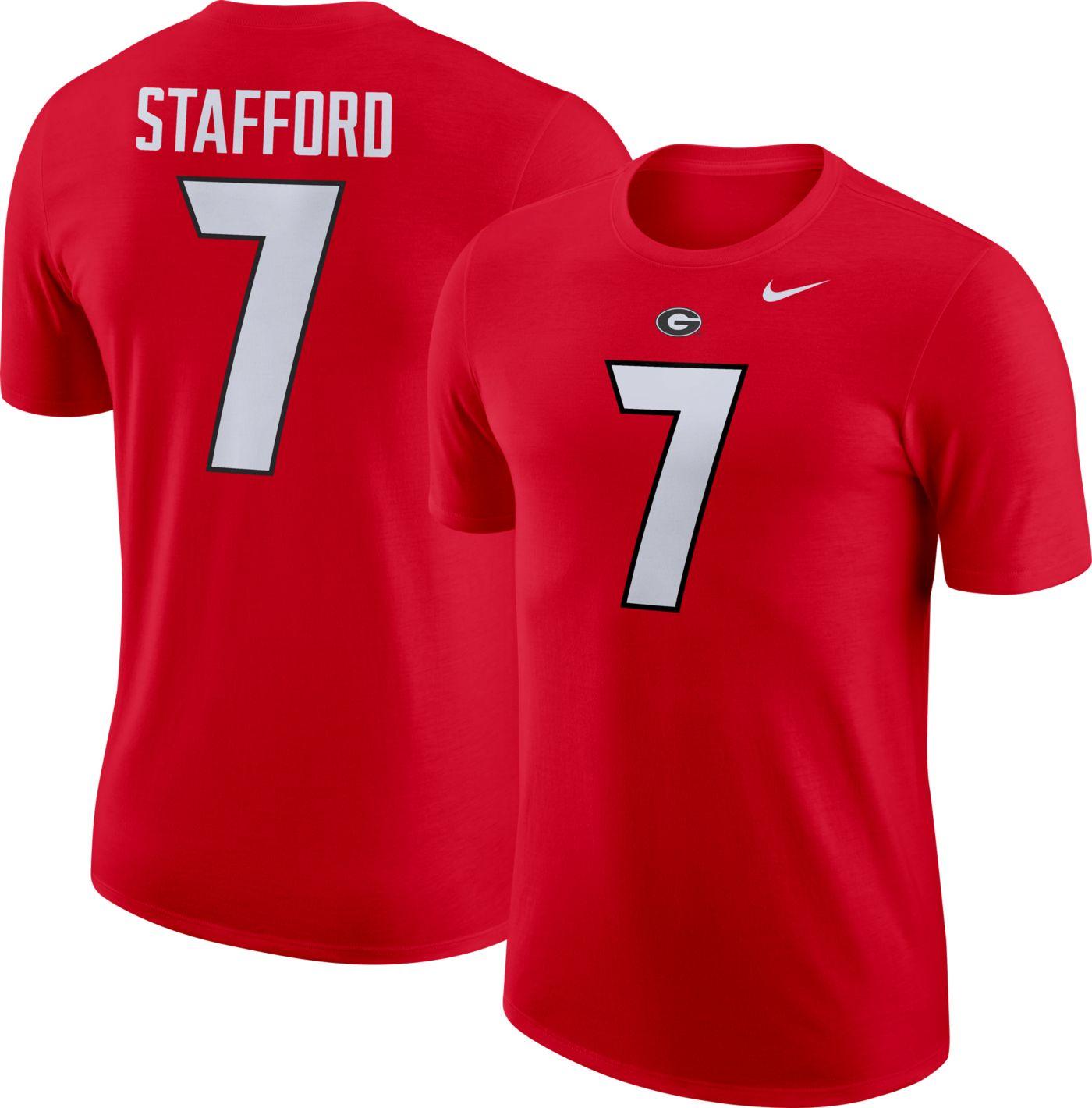 Nike Men's Georgia Bulldogs Matthew Stafford #7 Red Dri-FIT Football Jersey T-Shirt