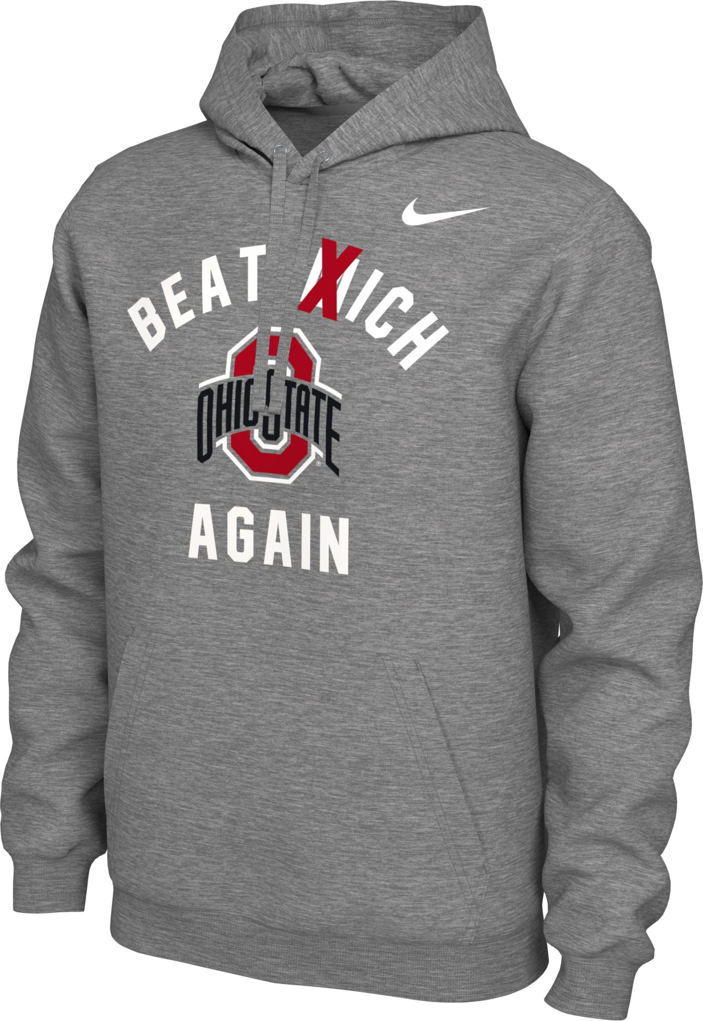 Nike Men's Ohio State Buckeyes Gray 'Beat Mich Again' Local Pullover Hoodie