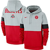Nike Men's Ohio State Buckeyes Gray/Scarlet Rivalry Therma Football Sideline Pullover Hoodie