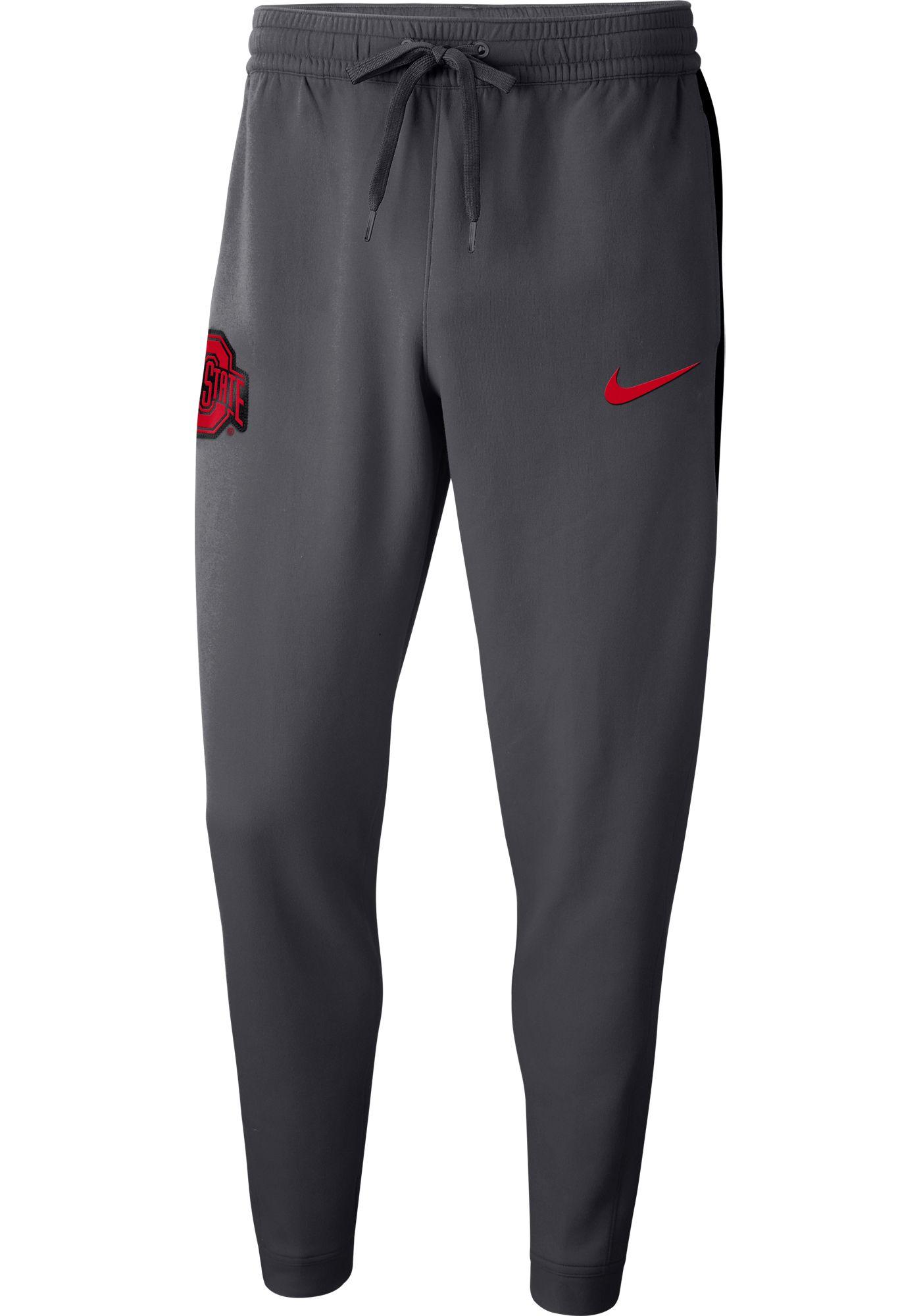 Nike Men's Ohio State Buckeyes Gray Dri-FIT Showtime Basketball Fleece Pants
