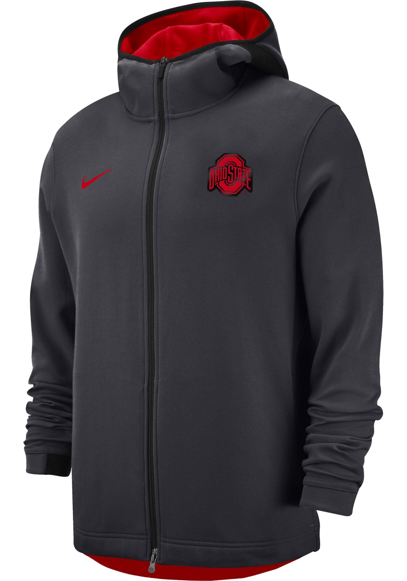 Nike Men's Ohio State Buckeyes Grey Dri-FIT Showtime Full-Zip Hoodie