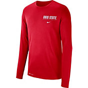 Nike Men's Ohio State Buckeyes Scarlet Dri-FIT Cotton Basketball Long Sleeve T-Shirt
