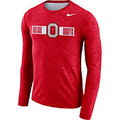 Nike Men's Ohio State Buckeyes Scarlet Dri-FIT Cotton Slub Logo Long Sleeve T-Shirt