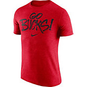 Nike Men's Ohio State Buckeyes Scarlet 'Go Bucks' Tri-Blend Verbiage T-Shirt