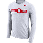 Nike Men's Ohio State Buckeyes Dri-FIT Cotton Slub Logo Long Sleeve White T-Shirt