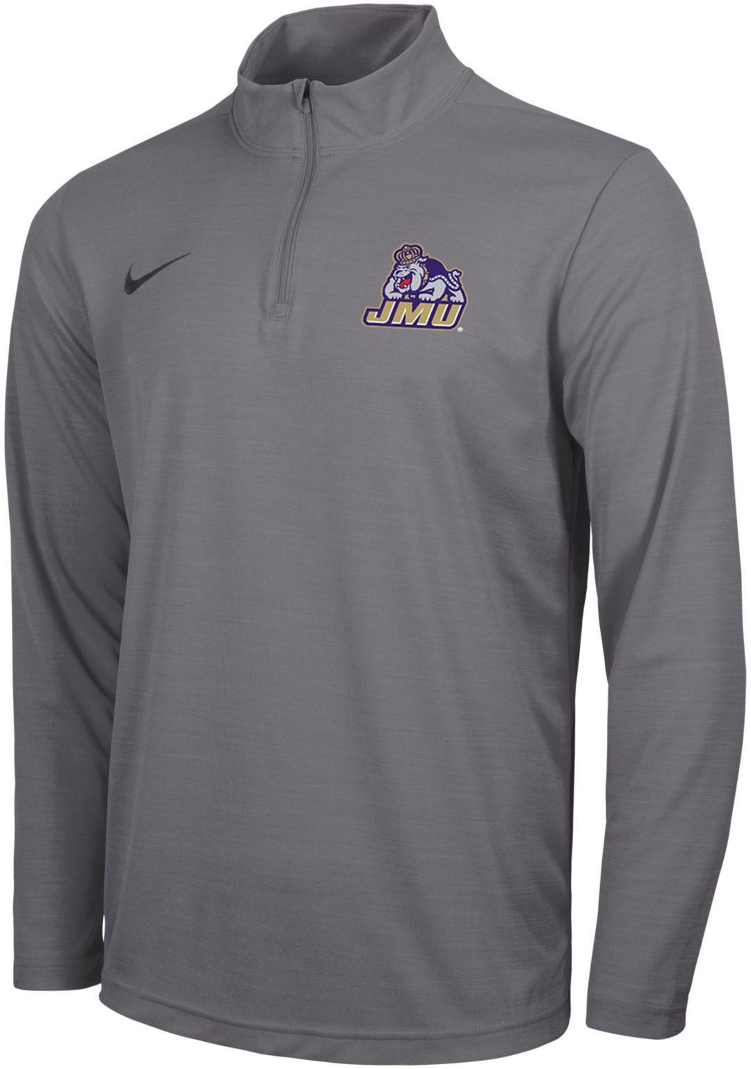 quality design 9fee8 412bb Nike Men's James Madison Dukes Grey Intensity Quarter-Zip Shirt