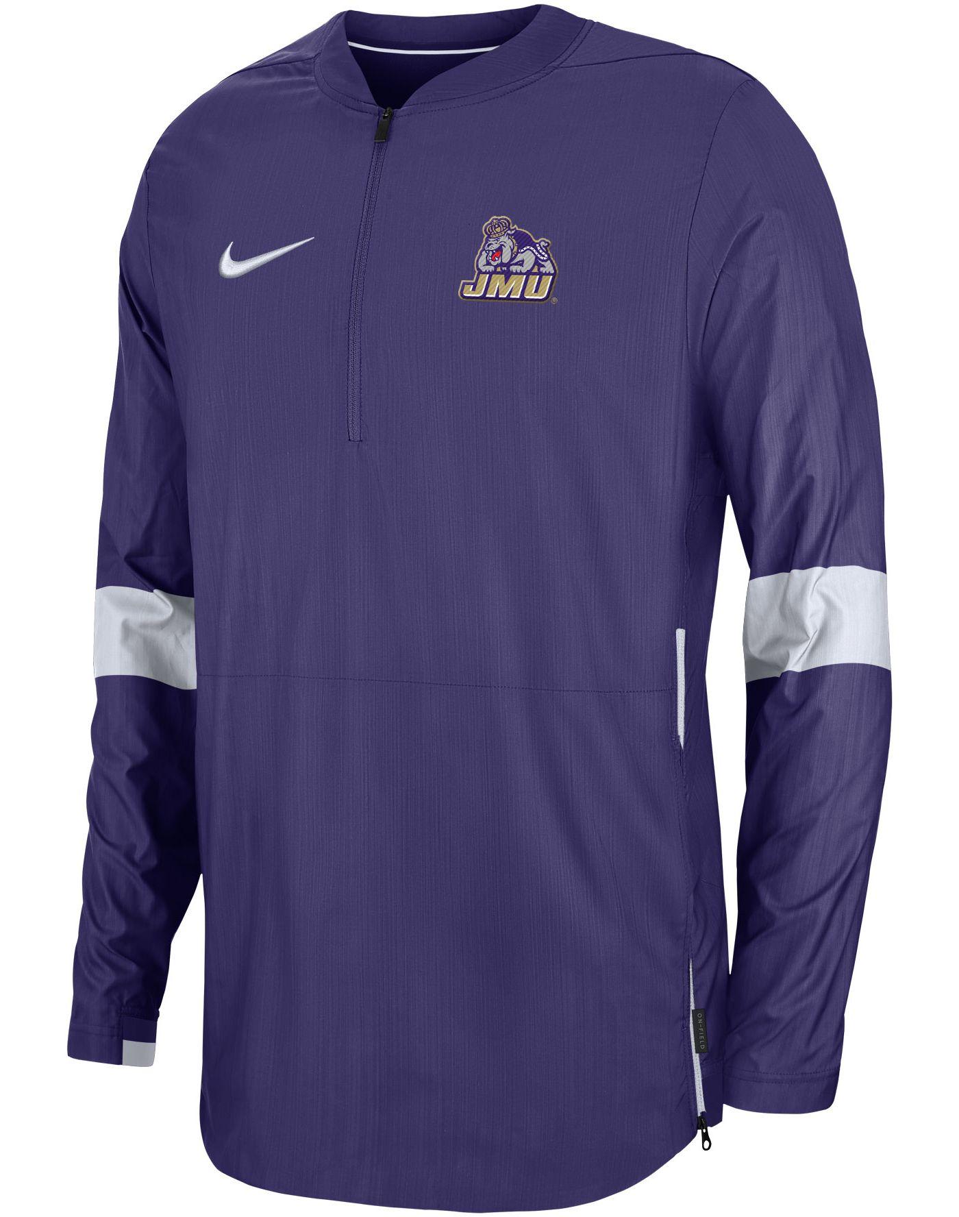 Nike Men's James Madison Dukes Purple Lockdown Half-Zip Football Jacket