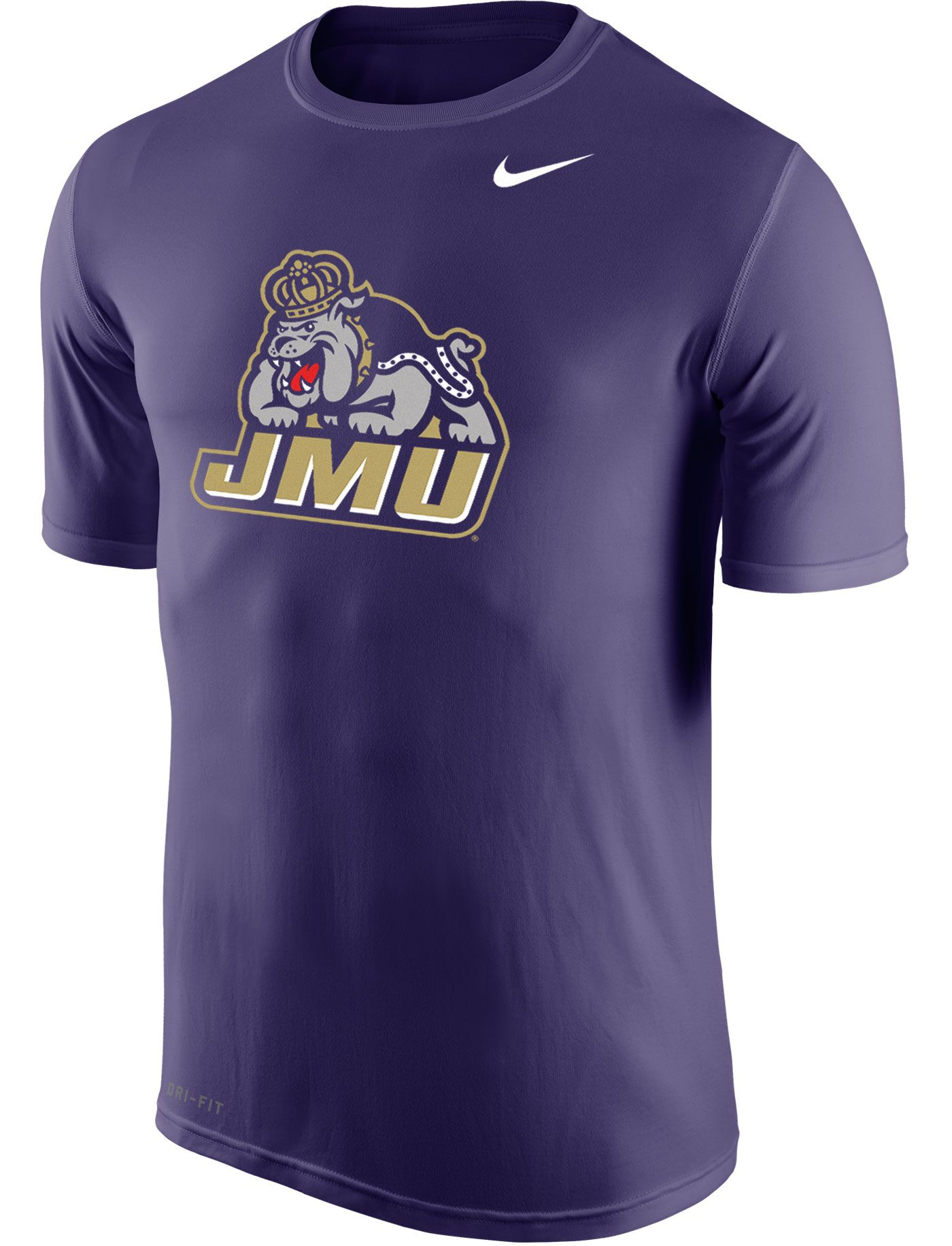Nike Men's James Madison Dukes Purple Logo Dry Legend T-Shirt