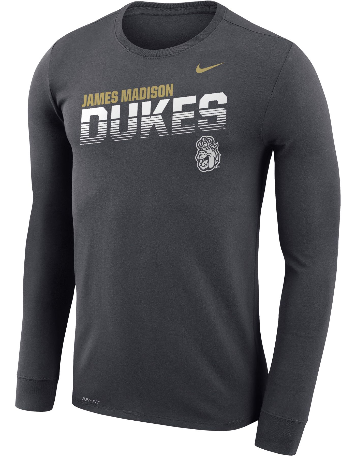 Nike Men's James Madison Dukes Grey Legend Football Sideline Long Sleeve T-Shirt