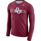 Nike Men's Oklahoma Sooners Crimson Dri-FIT Cotton Slub Logo Long Sleeve T-Shirt