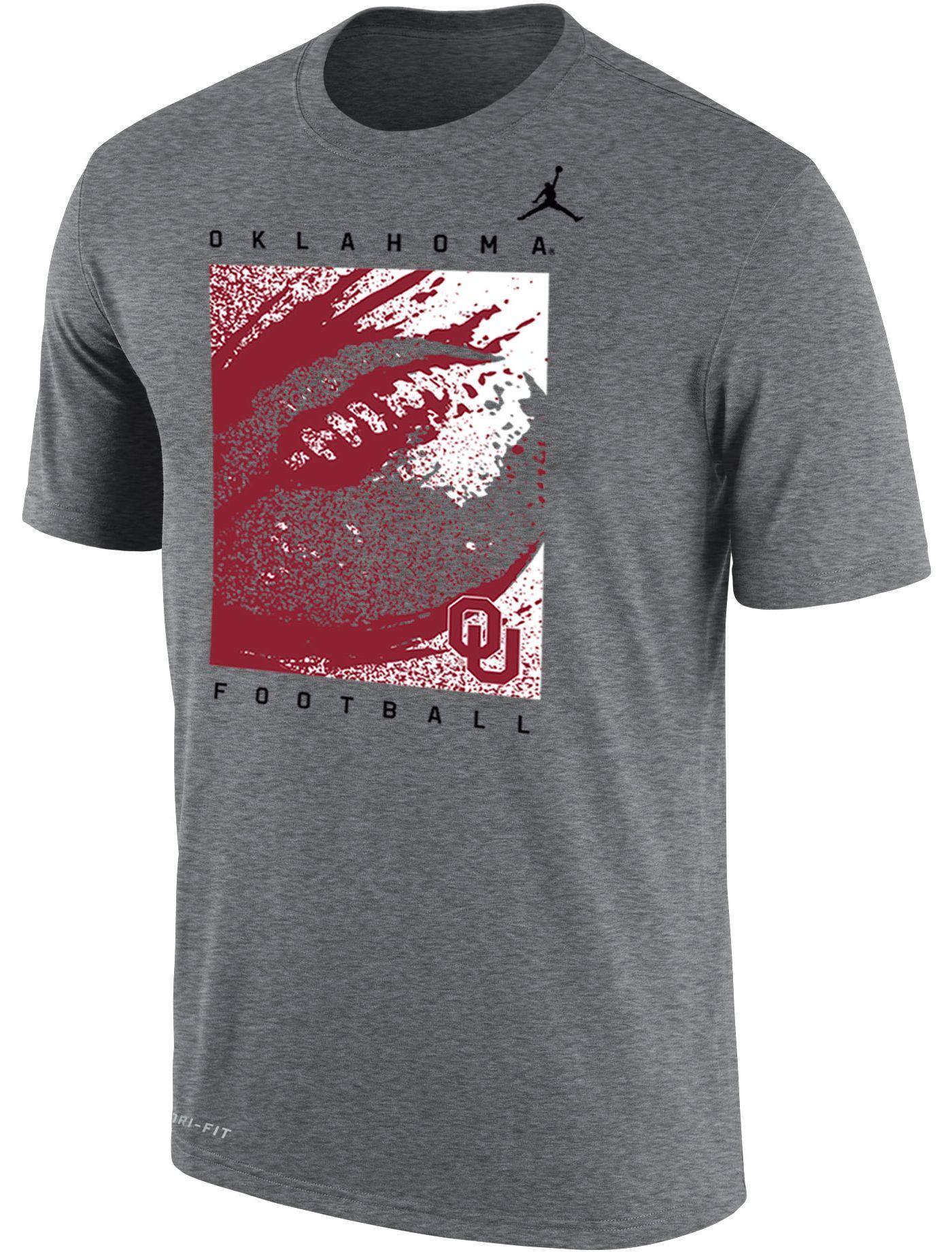 Jordan Men's Oklahoma Sooners Grey Dri-FIT Cotton Football T-Shirt