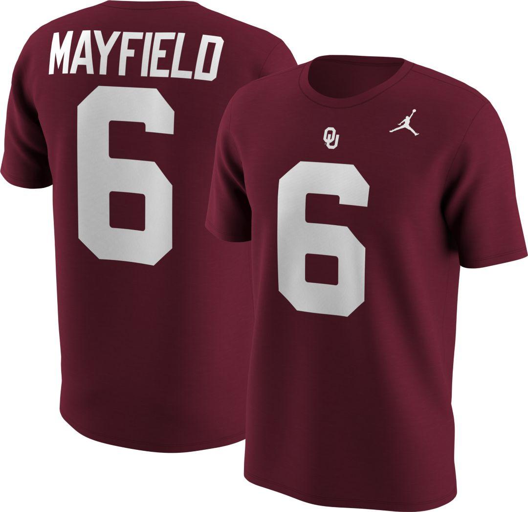 online retailer 089a6 aaaa8 Jordan Men's Oklahoma Sooners Baker Mayfield #6 Crimson Football Jersey  T-Shirt