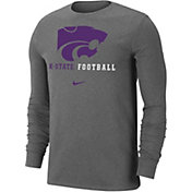 Nike Men's Kansas State Wildcats Grey Football Icon Wordmark Long Sleeve T-Shirt