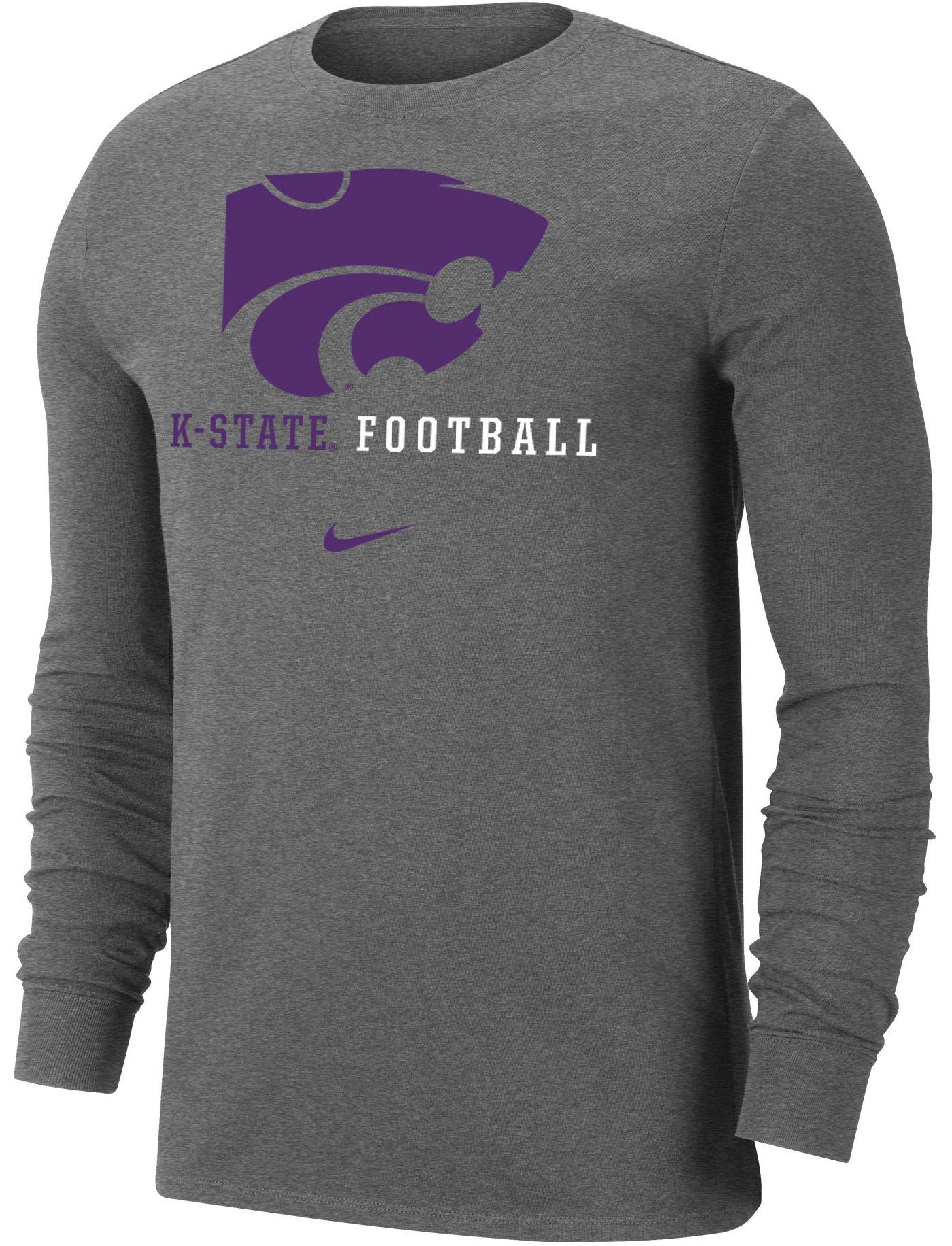 Nike Men's Kansas State Wildcats Grey Football Icon Wordmark Long Sleeve T-Shirt