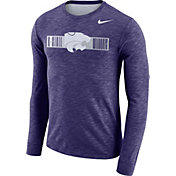 Nike Men's Kansas State Wildcats Purple Dri-FIT Cotton Slub Logo Long Sleeve T-Shirt