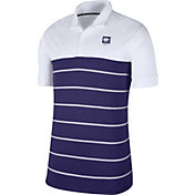 Nike Men's Kansas State Wildcats White/Purple Striped Polo