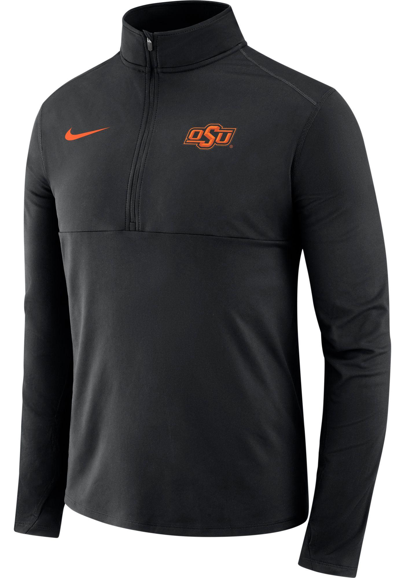 Nike Men's Oklahoma State Cowboys Long Sleeve Core Half-Zip Black Shirt