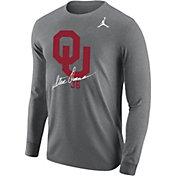 Jordan Men's Oklahoma Sooners Grey Steve Owens Signature Long Sleeve T-Shirt