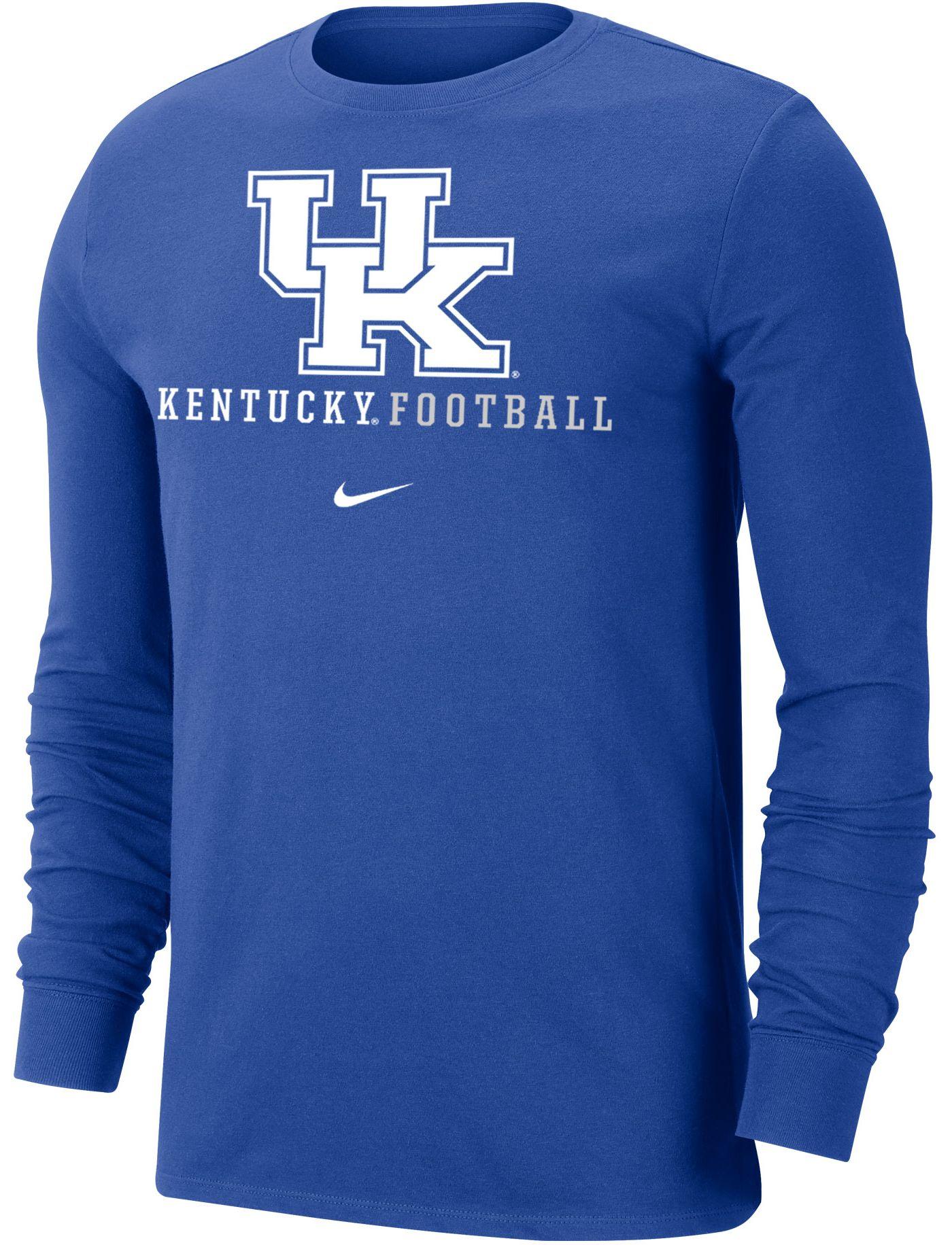 Nike Men's Kentucky Wildcats Blue Football Icon Wordmark Long Sleeve T-Shirt