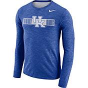 Nike Men's Kentucky Wildcats Blue Dri-FIT Cotton Slub Logo Long Sleeve T-Shirt