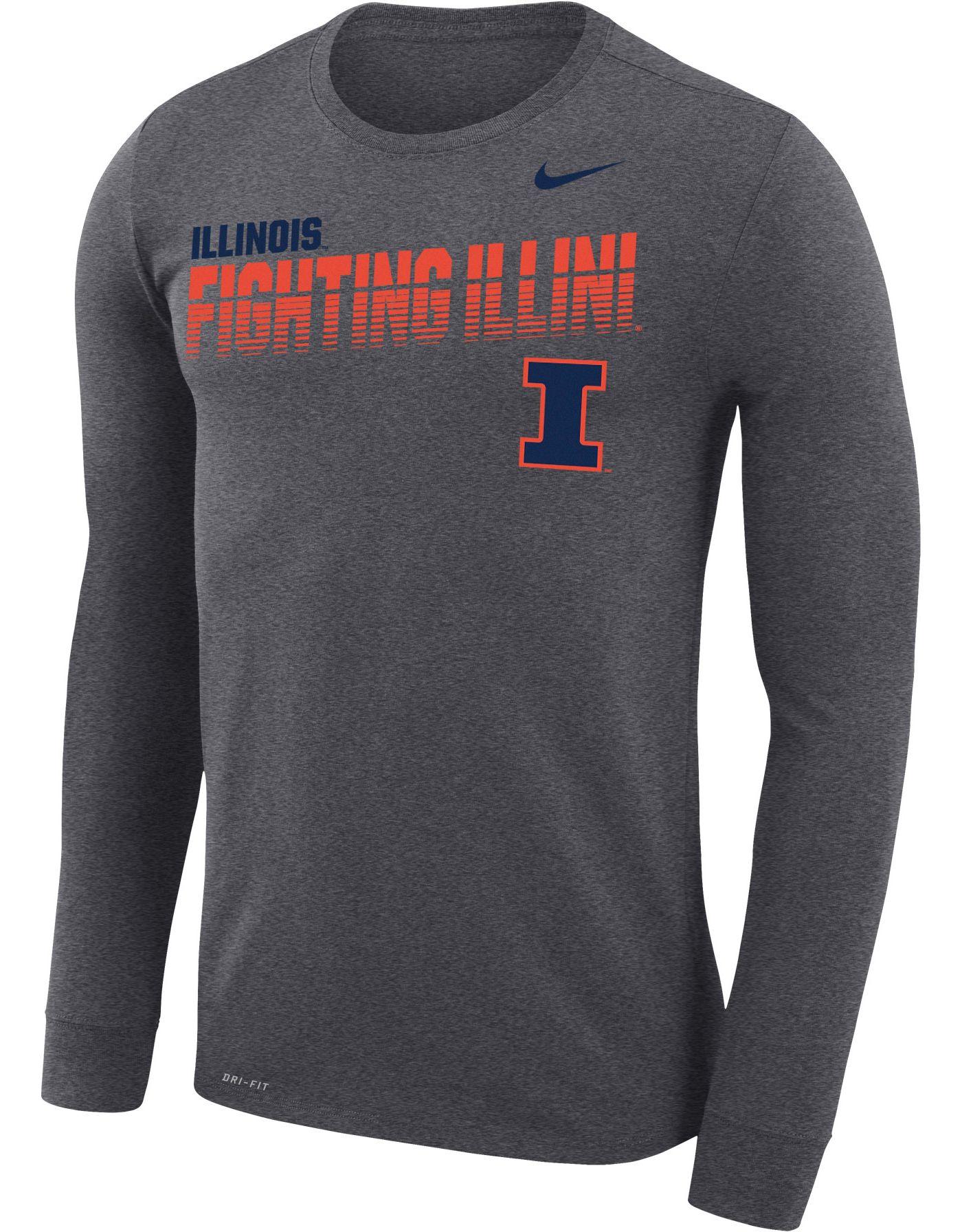 Nike Men's Illinois Fighting Illini Grey Legend Football Sideline Long Sleeve T-Shirt