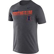 Nike Men's Illinois Fighting Illini Grey Legend Football Sideline T-Shirt