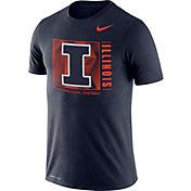 Nike Men's Illinois Fighting Illini Blue Team Issue Logo Football T-Shirt