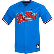 Nike Men's Ole Miss Rebels Blue Full Button Replica Baseball Jersey