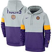 Nike Men's LSU Tigers Grey/Purple Rivalry Therma Football Sideline Pullover Hoodie