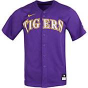Nike Men's LSU Tigers Purple Full Button Replica Baseball Jersey