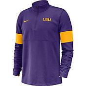 Nike Men's LSU Tigers Purple Coaches Half-Zip Pullover Shirt