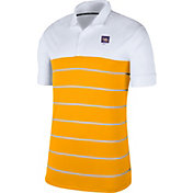 Nike Men's LSU Tigers White/Gold Striped Polo