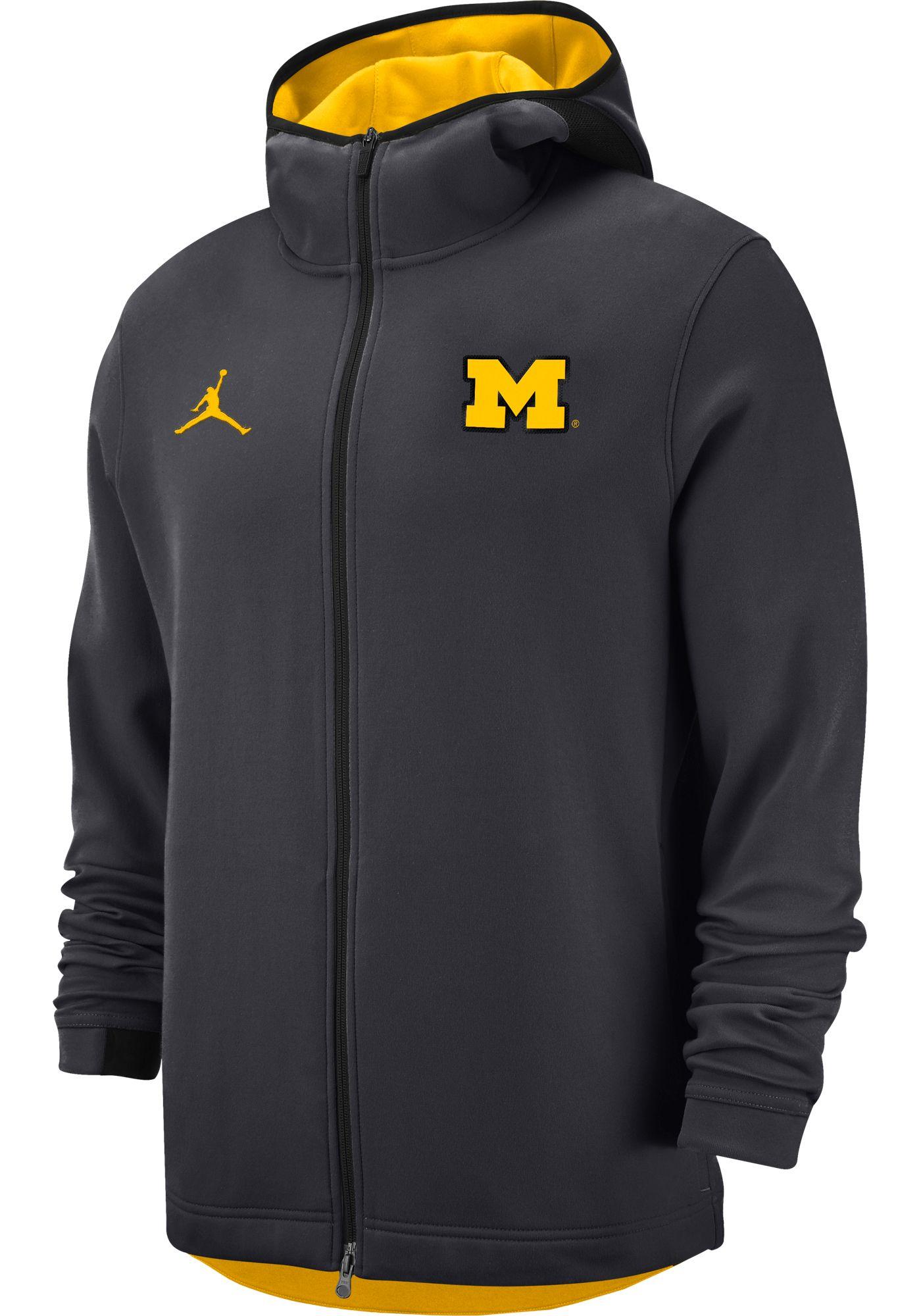 Jordan Men's Michigan Wolverines Grey Dri-FIT Showtime Full-Zip Hoodie