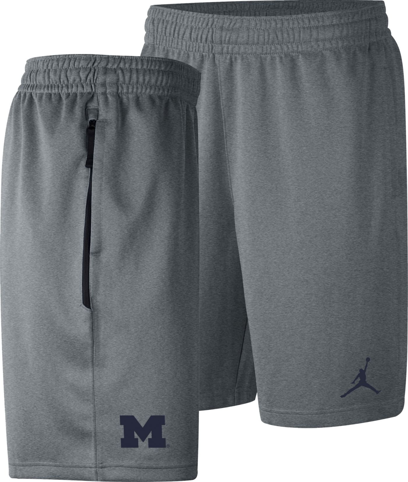 Nike Men's Michigan Wolverines Grey Dri-FIT Spotlight Basketball Shorts