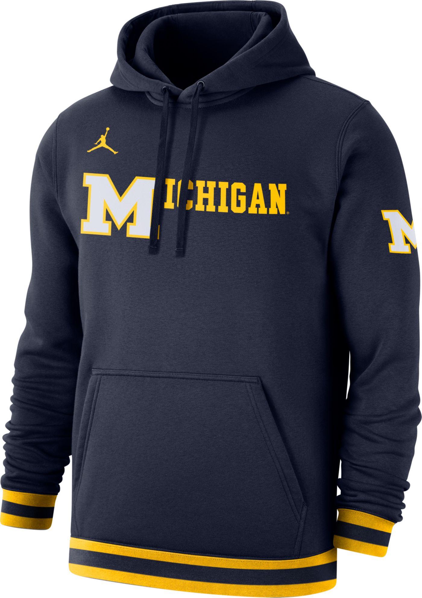 Jordan Men's Michigan Wolverines Blue Club Retro Hoodie