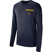 Jordan Men's Michigan Wolverines Blue Dri-FIT Cotton Basketball Long Sleeve T- Shirt