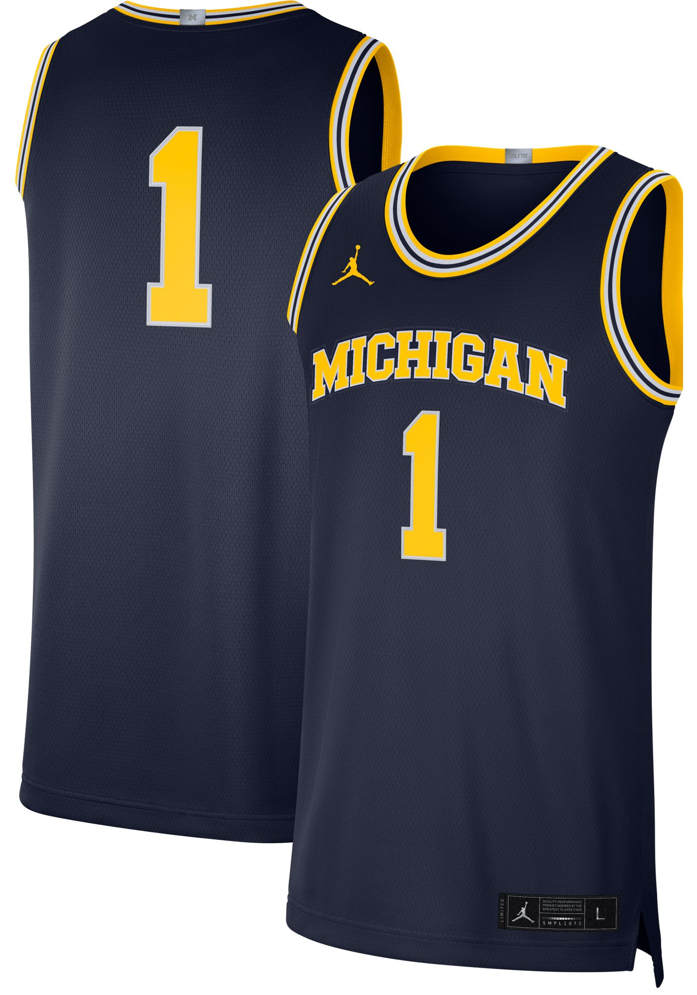 Jordan Men's Michigan Wolverines #1 Blue Limited Basketball Jersey