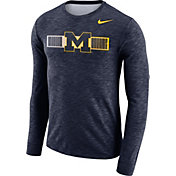 Nike Men's Michigan Wolverines Blue Dri-FIT Cotton Slub Logo Long Sleeve T-Shirt