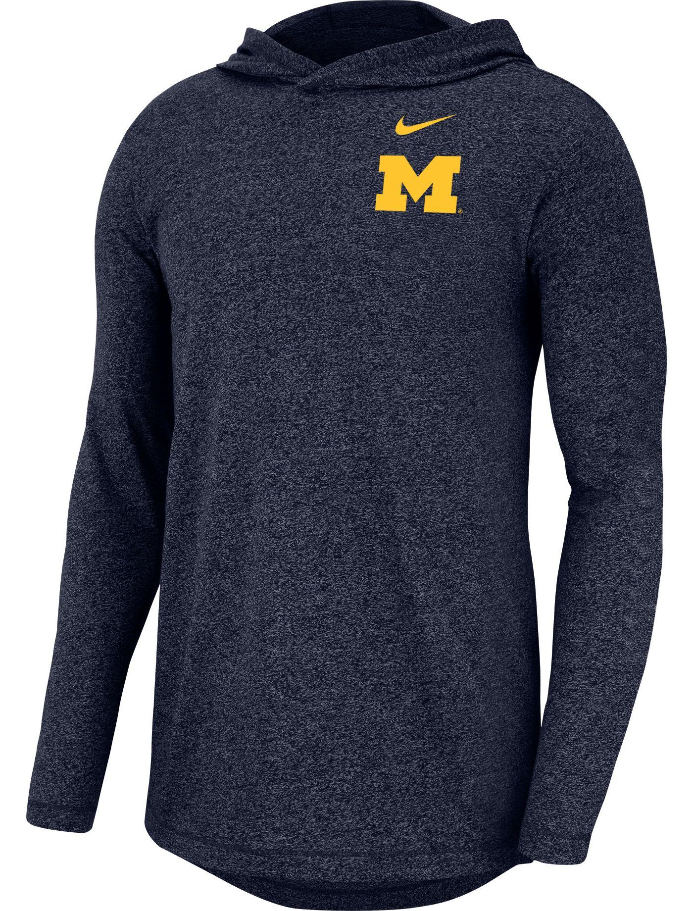 Nike Men's Michigan Wolverines Blue Marled Long Sleeve Hoodie