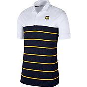 Nike Men's Michigan Wolverines White/Blue Striped Polo