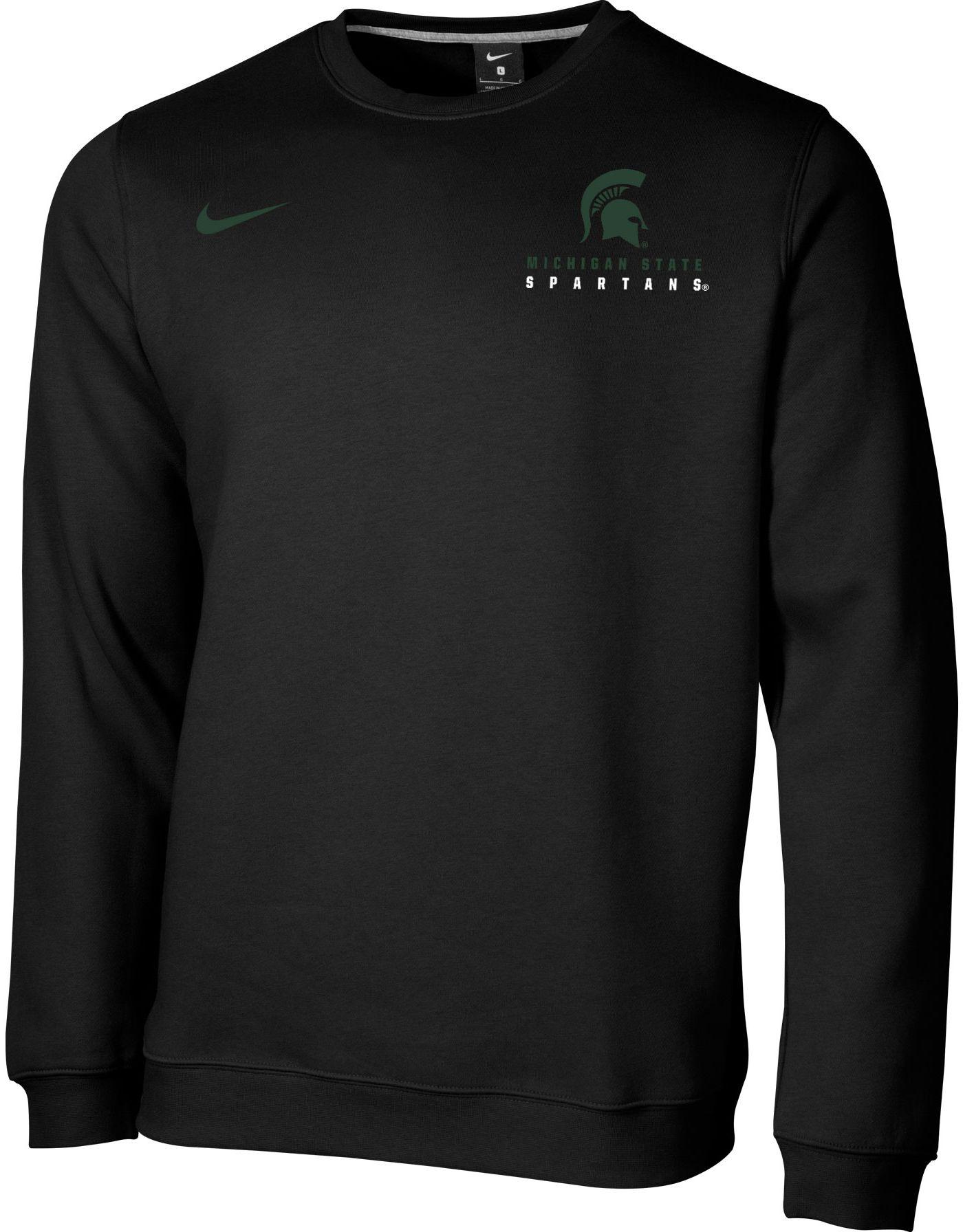 Nike Men's Michigan State Spartans Club Fleece Crew Neck Black Sweatshirt