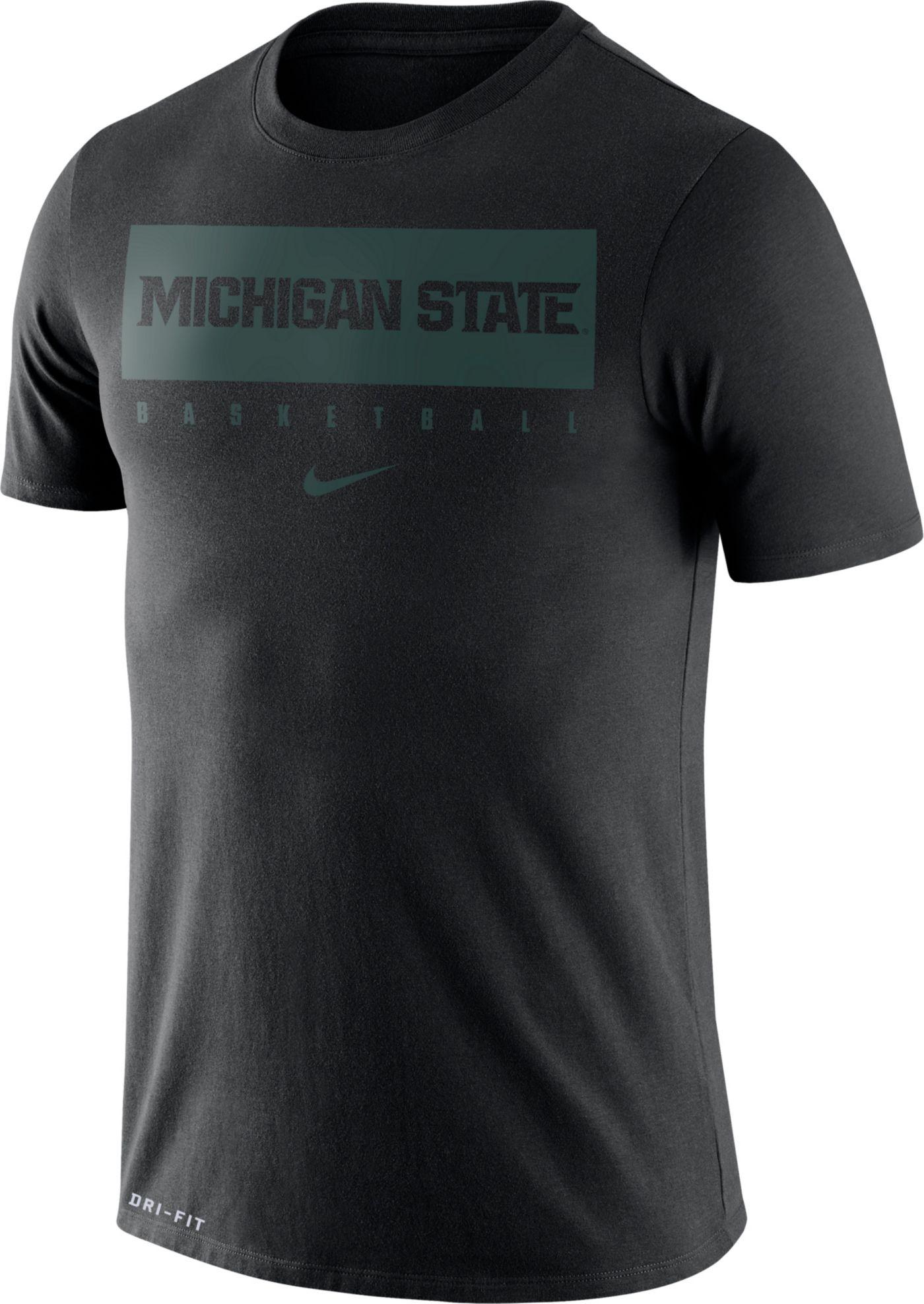Nike Men's Michigan State Spartans Basketball Legend Practice Black T-Shirt