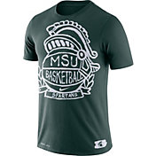 Nike Men's Michigan State Spartans Green Dry Crest Basketball T-Shirt