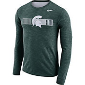 Nike Men's Michigan State Spartans Green Dri-FIT Cotton Slub Logo Long Sleeve T-Shirt