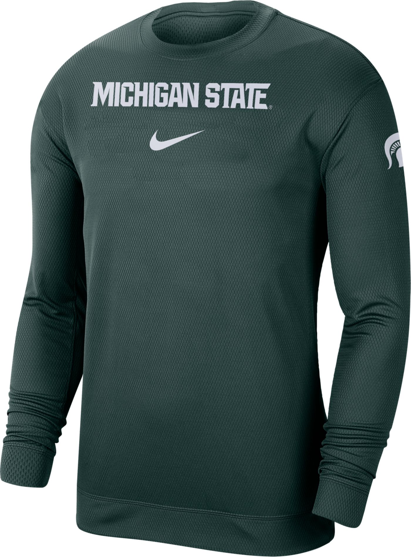 Nike Men's Michigan State Spartans Green Dri-FIT Spotlight Long Sleeve Basketball T-Shirt